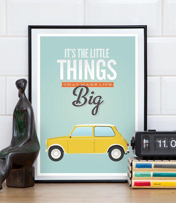 Quote poster Typography quote Mini Cooper retro poster by handz