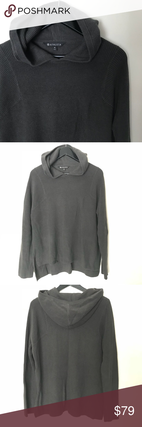 8cc42cea3a8e8 Athleta Sz M Rest day hoodie dark green grey knit Athleta Sz M Rest day Hoodie  dark green grey knit hoodie This lightweight layer goes from summer to fall  ...