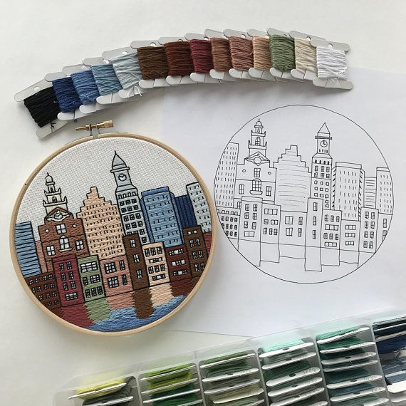 Boston MA, United States. Hand Embroidery pattern PDF. DIY. Embroidery Hoop art, Wall Decor, housewarming Gift. Free Hand embroidery guide!