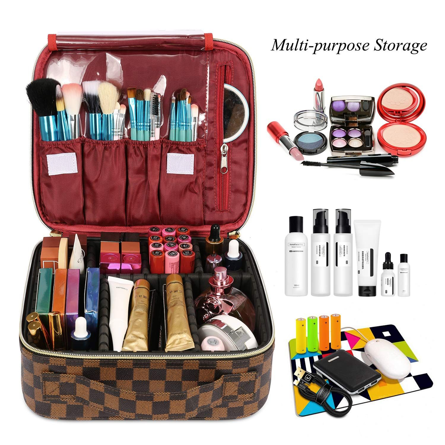 Travel Makeup Case Leather Cosmetic Bag Makeup Bag In 2020 Makeup Case Leather Makeup Case Makeup Bags Travel