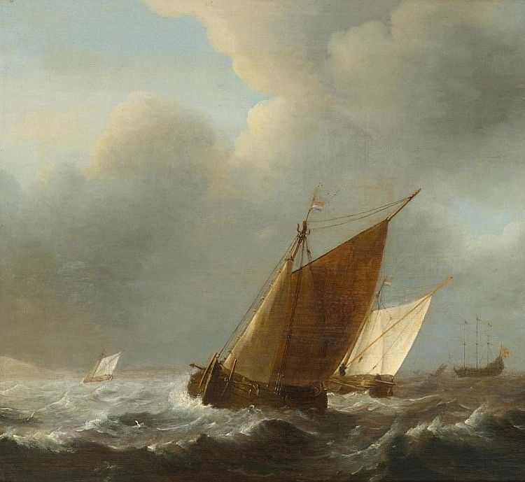 HOLLAND, 17TH CENTURY Marine  Oil on wood.. Right on the boat remains  46.7 x 48.5 cm a monogram Provenance: -.. Art trade Frank T. Sabin, London 1922 (verso label) - Private collection, Wassenaar, 1963. - European private collection NETHERLANDS, 17TH CENTURY Navy... Oil on panel. . Remains of a monogram to the right on the boat 46.7 x 48.5 cm