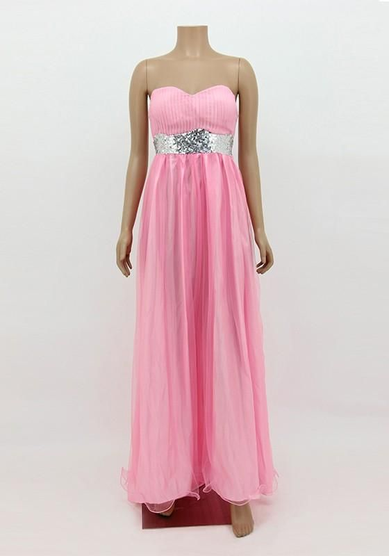 Pink Patchwork Sequin Collarless Party Chiffon Maxi Dress