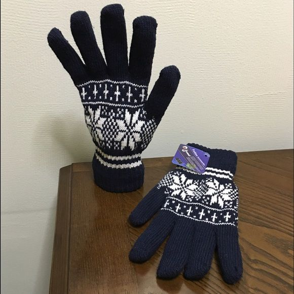 Double layered snowflake navy gloves OS New with tags. Very warm. They have been stored for a while they have smell. Navy with white snowflake pattern Nuomni Accessories Gloves & Mittens
