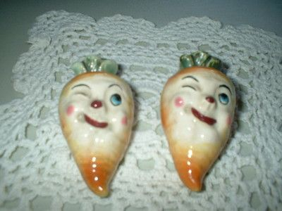 Vintage Salt Pepper Shakers Carrots with Faces