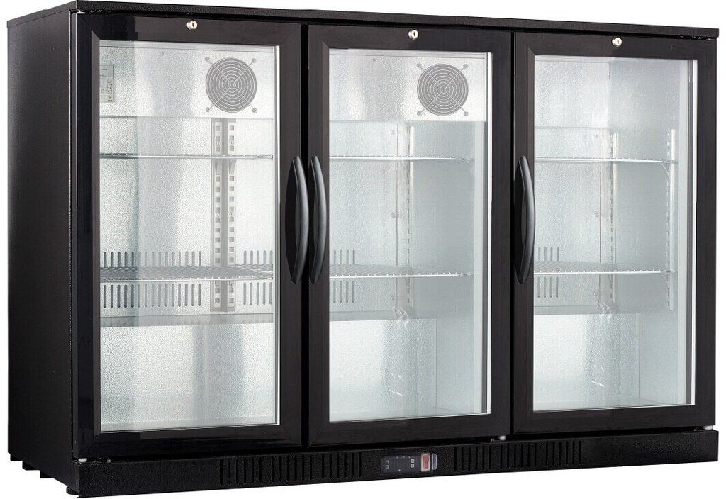 Procool 3 Door Back Bar Cooler Black Double Glass Doors Bar Refrigerator Glass Door