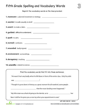 planner with spelling list fifth grade spelling and vocabulary words. Black Bedroom Furniture Sets. Home Design Ideas
