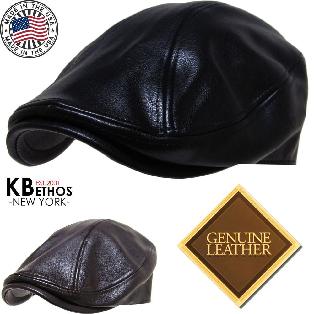 9daf2e6bc9a5d Hüte   Mützen Sport Made in USA 100% Genuine Leather Ascot Newsboy Ivy Hat  Cap Gatsby