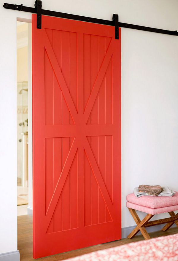 Wall Colour Inspiration: UNEXPECTED CRUSH: A RED SLIDING DOOR (style-files.com