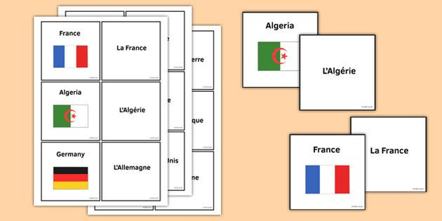 Countries and Flags Matching Cards French