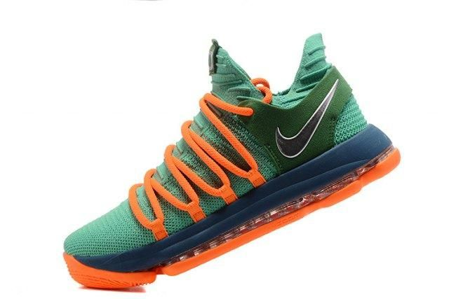 hot sale online 4a80c 1cf18 Creative Nike Zoom KD 10 EP Green Orange Kevin Durant Men s Basketball  Shoes Sneakers