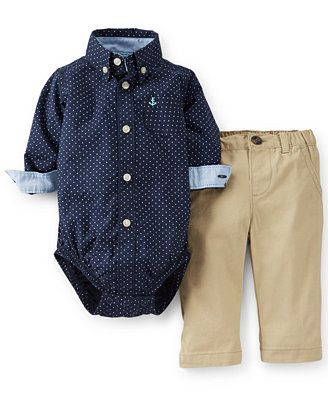 Carter S Baby Boys 2 Piece Bodysuit Khakis Set Baby Clothes