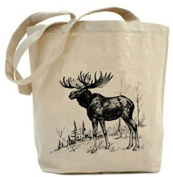 Moose   Eco Friendly Canvas Tote Bag by PaisleyMagic on Etsy, $19.99