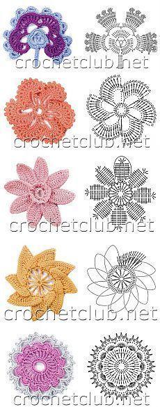 вязаные цветы и схемы подружки ирл листики цветочки Crochet