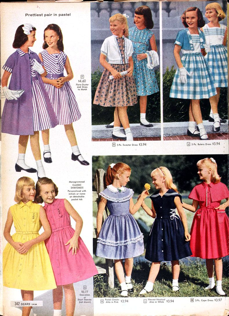 58f559aee Girls clothing from the 1958 Spring/Summer Sears Catalog | Lower ...