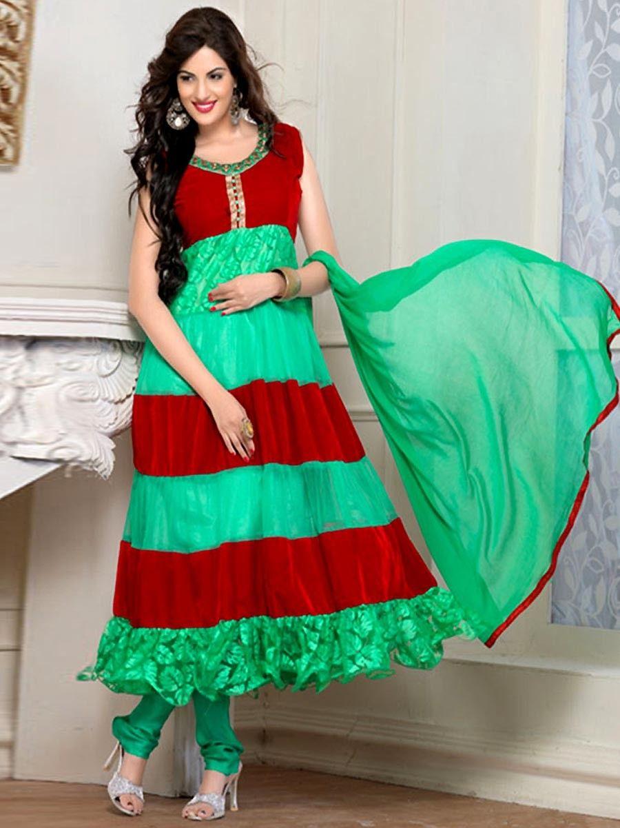 Green & Red Anarkali Suit . Item Code : SLEB14220   Anarkali ...