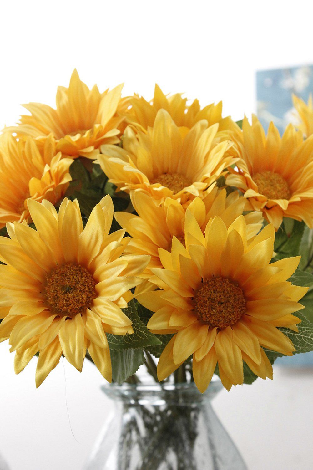 Charmly 6 Pcs Artificial Sunflowers Fake Sunflowers Artificial Silk Flowers For Home Hotel Office Wedding Pa Artificial Silk Flowers Garden Crafts Silk Flowers