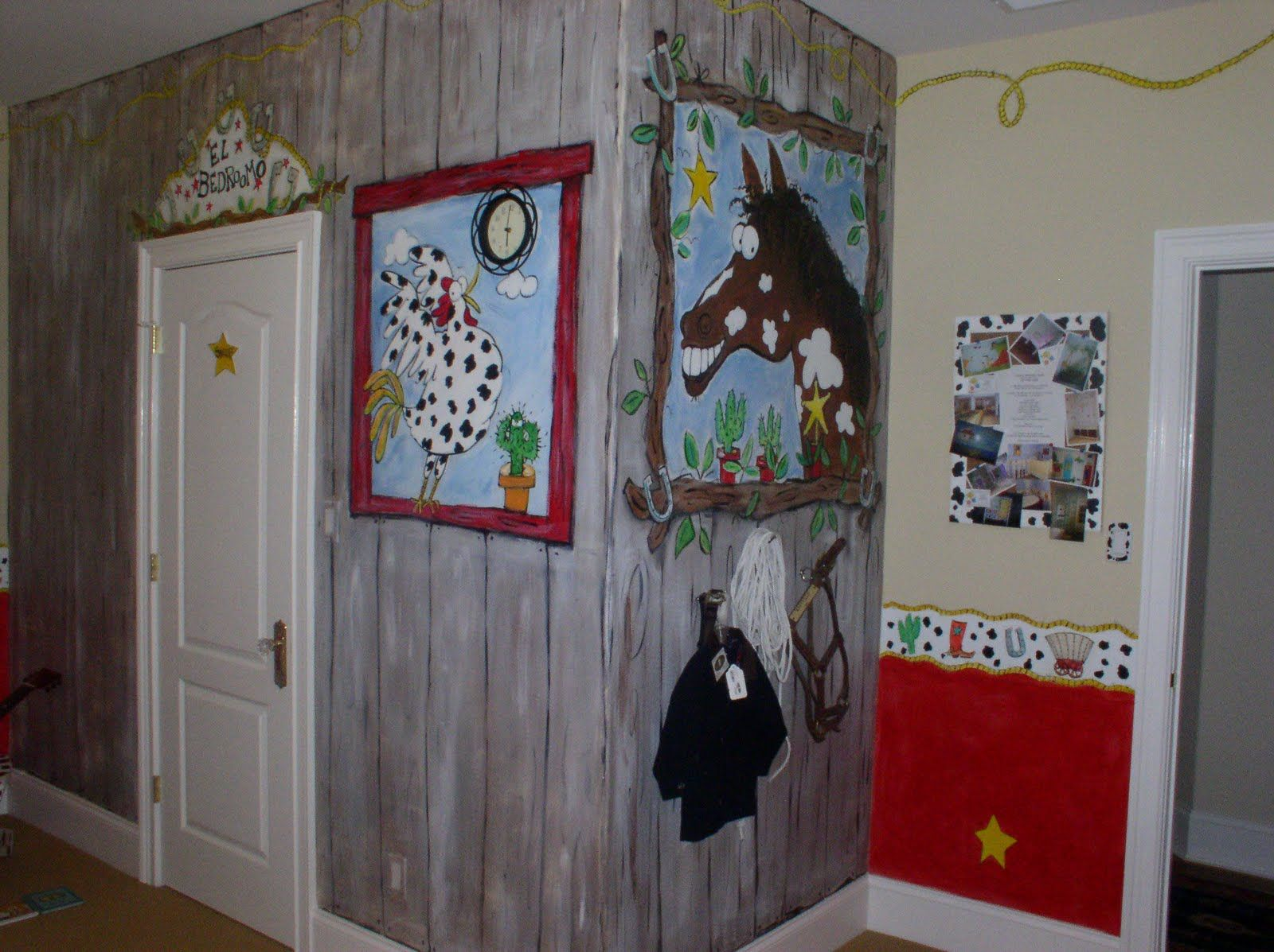 Kids bedroom country cowboy style cute wall painting boy for Cowgirl themed bedroom ideas