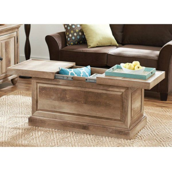Coffee Table With Storage Weathered Slide Out Design Wooden Furniture Livingroom Bhg Traditi
