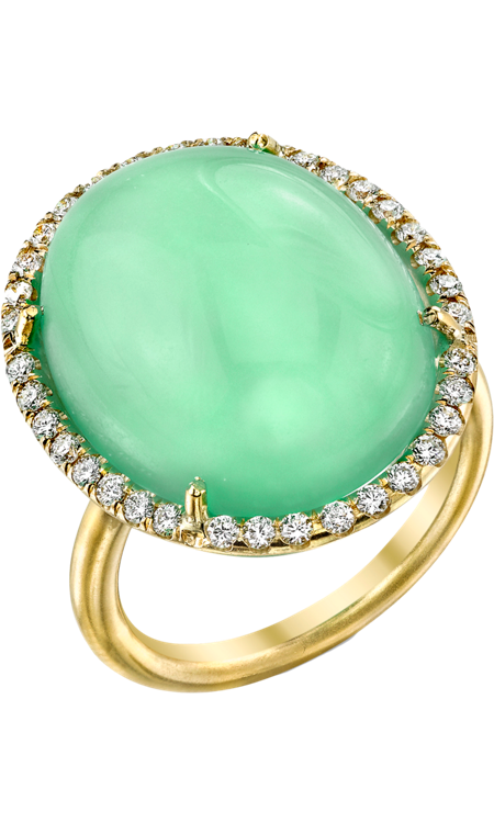 Chrysoprase & Diamond Ring. Chrysoprase meaning Chrysoprase is used as a shield or protector from negative energy. A small bowl of Chrysoprase kept by the front entrance of the home is a very wise procedure. If used in jewelry, Chrysoprase should only be set in silver and has more power carved in the shape of a heart.
