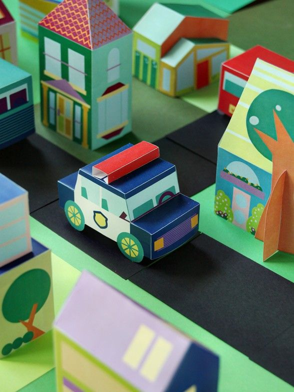 PRINTABLE POLICE CAR TOY | Papercraft | Paper toys, Toys
