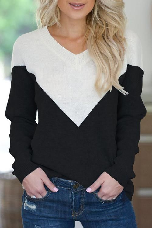 e87aa6ba1c2e Patchwork V-Neck Long Sleeves Knitting Sweaters ( 4 Colors ) in 2019 ...