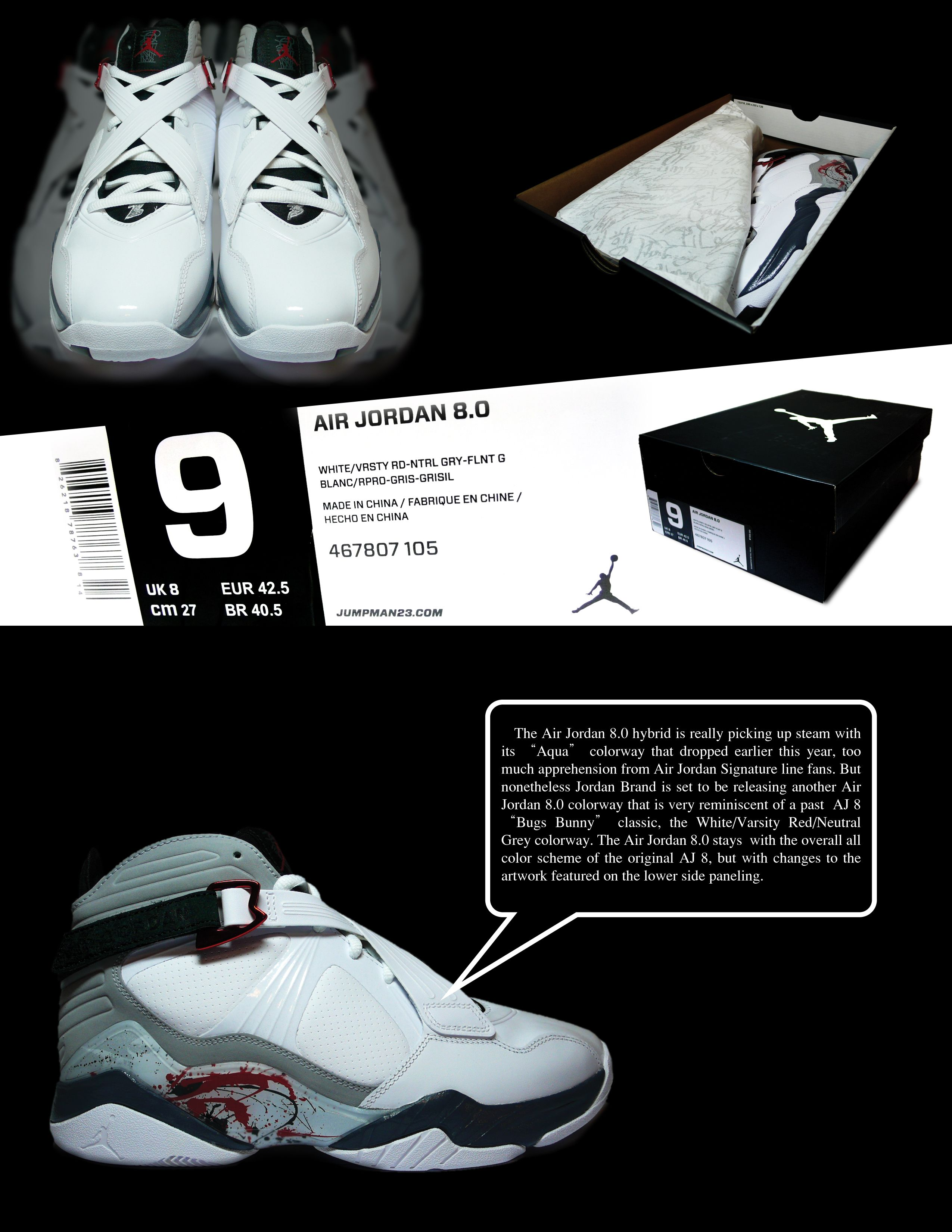 Air Jordan 8.0 - White - Varsity Red - Neutral Grey - SneakerNews ... 6cc8a2dc3f21