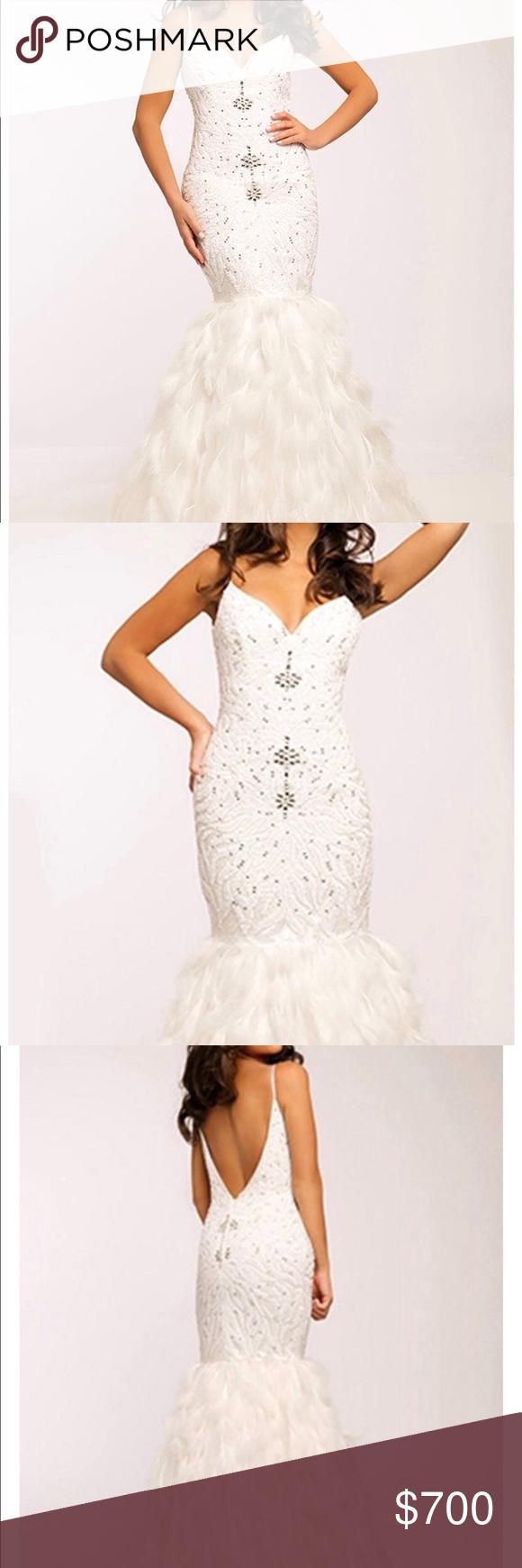 White mermaid feather prom dress my posh picks pinterest