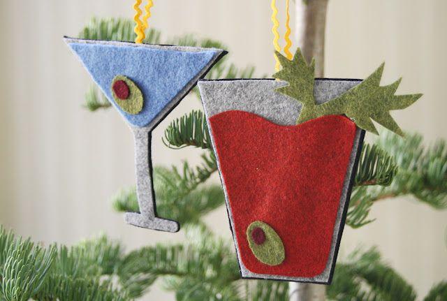 No-Sew Cocktail Ornaments