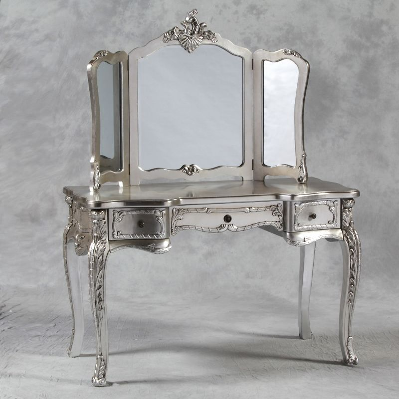 A gorgeous French provincial style dressing table and free standing three  fold mirror finished in antique - A Gorgeous French Provincial Style Dressing Table And Free