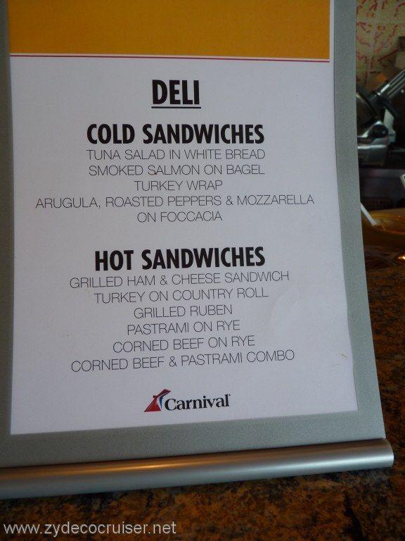 Carnival Cruise Line Deli Menu Food Pictures Carnival