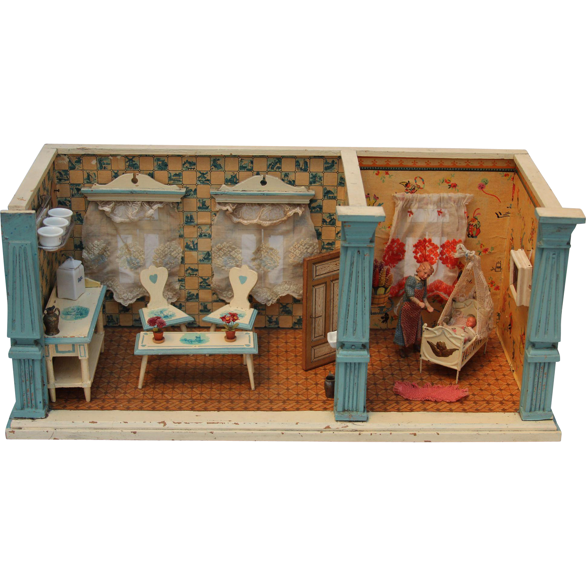 Mini Kitchen Room Box: Antique Doll House With Kitchen And Nursery German Delft
