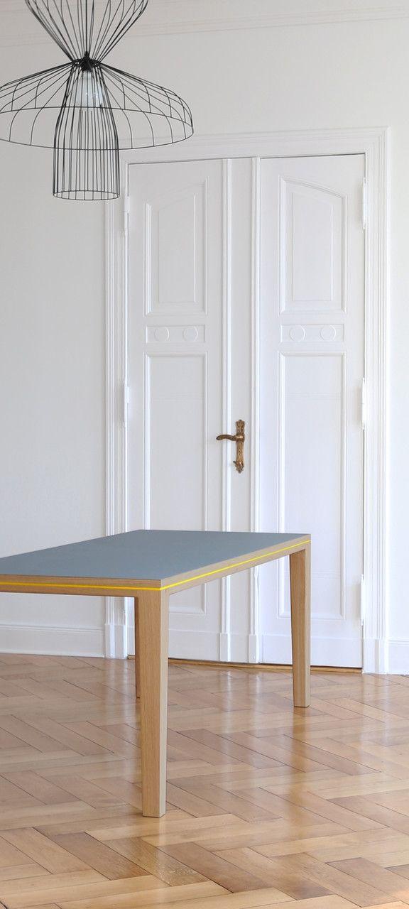 Tisch esstisch schreibtisch r10 eiche massivholz linoleuem for Esstisch massivholz grau
