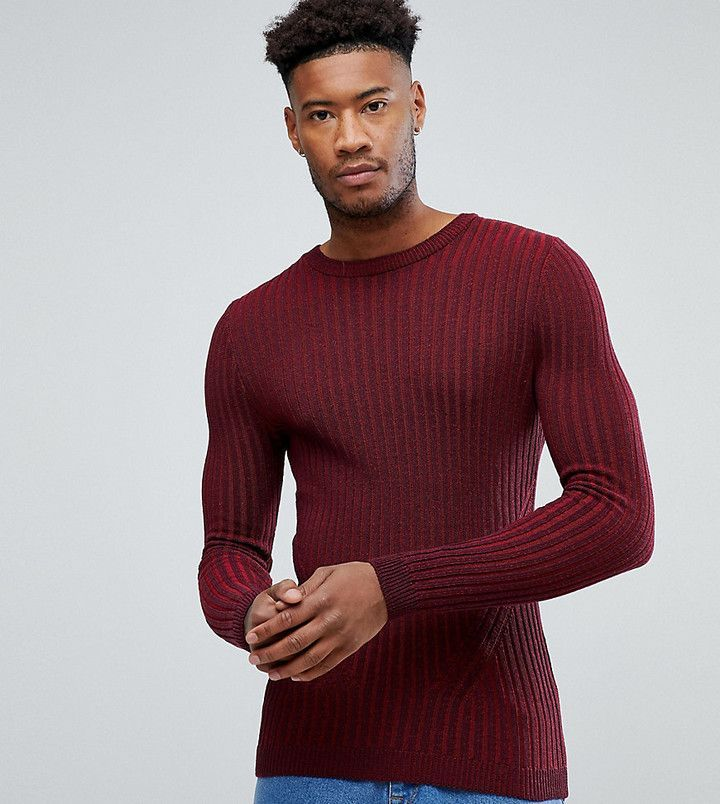 Asos TALL Muscle Fit Ribbed Sweater In Burgundy