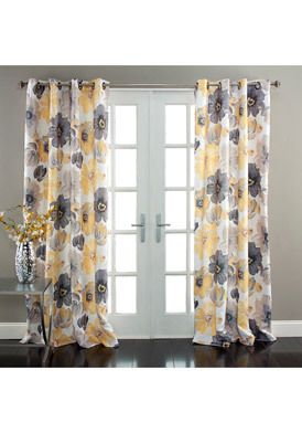 Half Moon Leah 84 Inch Yellow Gray Floral Curtain Panel Pair