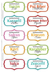 Deutsch Turkische Gewurzglaser Etiketten Vorlage Gewurzetiketten Etiketten Vorlagen Und Gewurzglaser