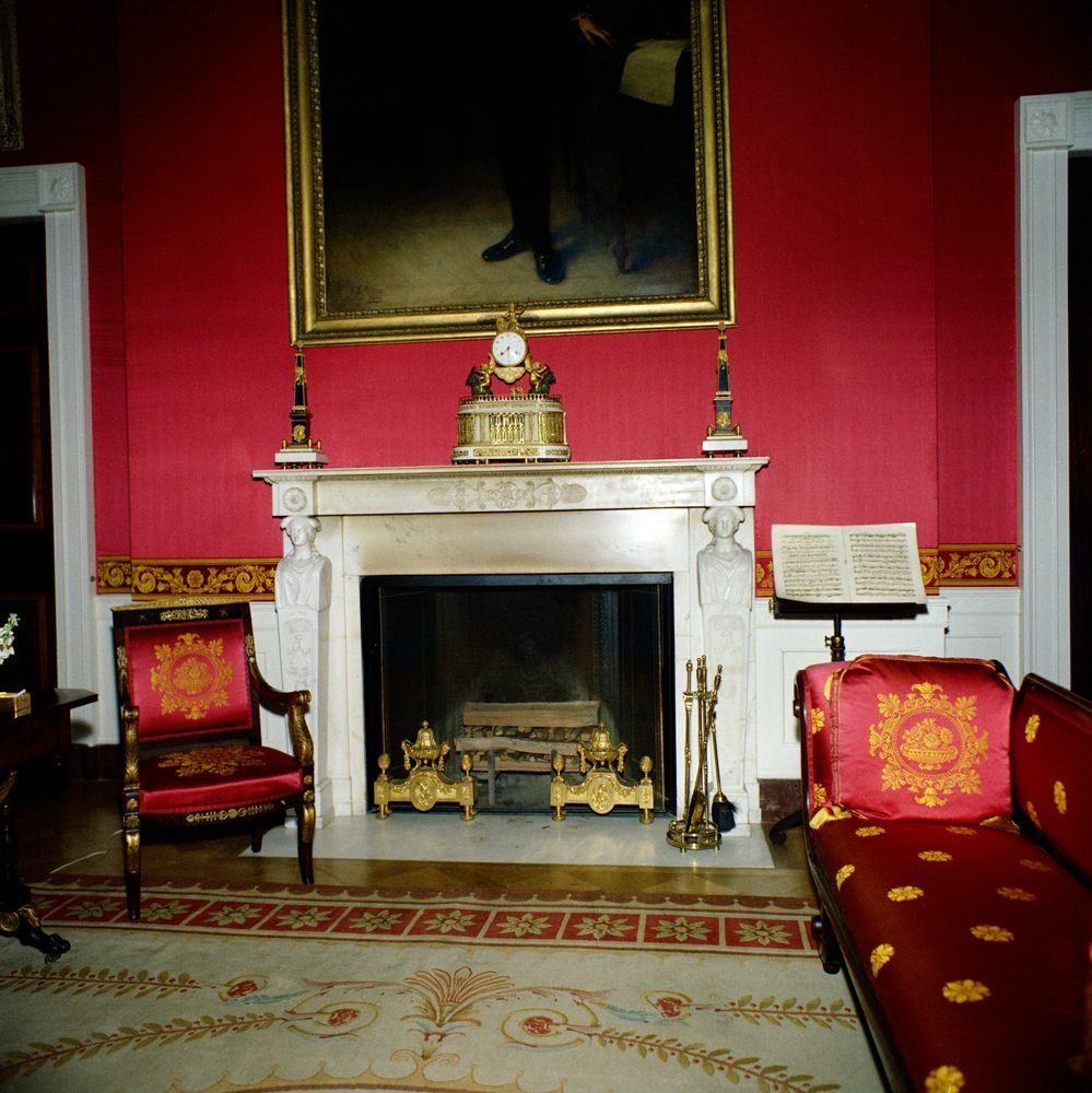 Red Room: White House Red Room Fabric 1962.