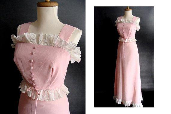 vintage NOS 70s Pink Ruffled Sleeveless Sun Dress Prairie Gown XS by wardrobetheglobe, $82.00