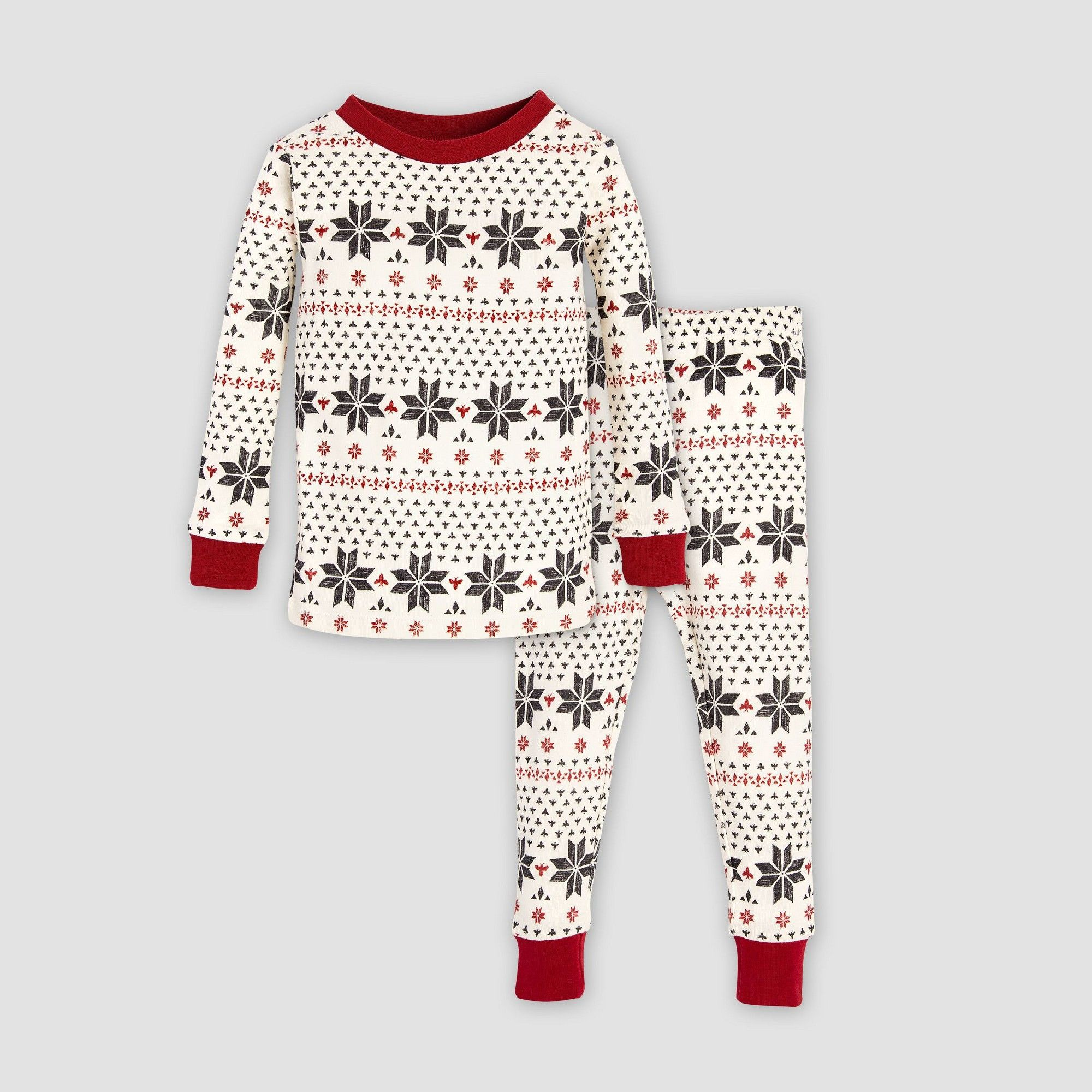 457fc3cbe Burt s Bees Baby Toddler Boys  Hand Drawn Snowflakes Pajama Set ...