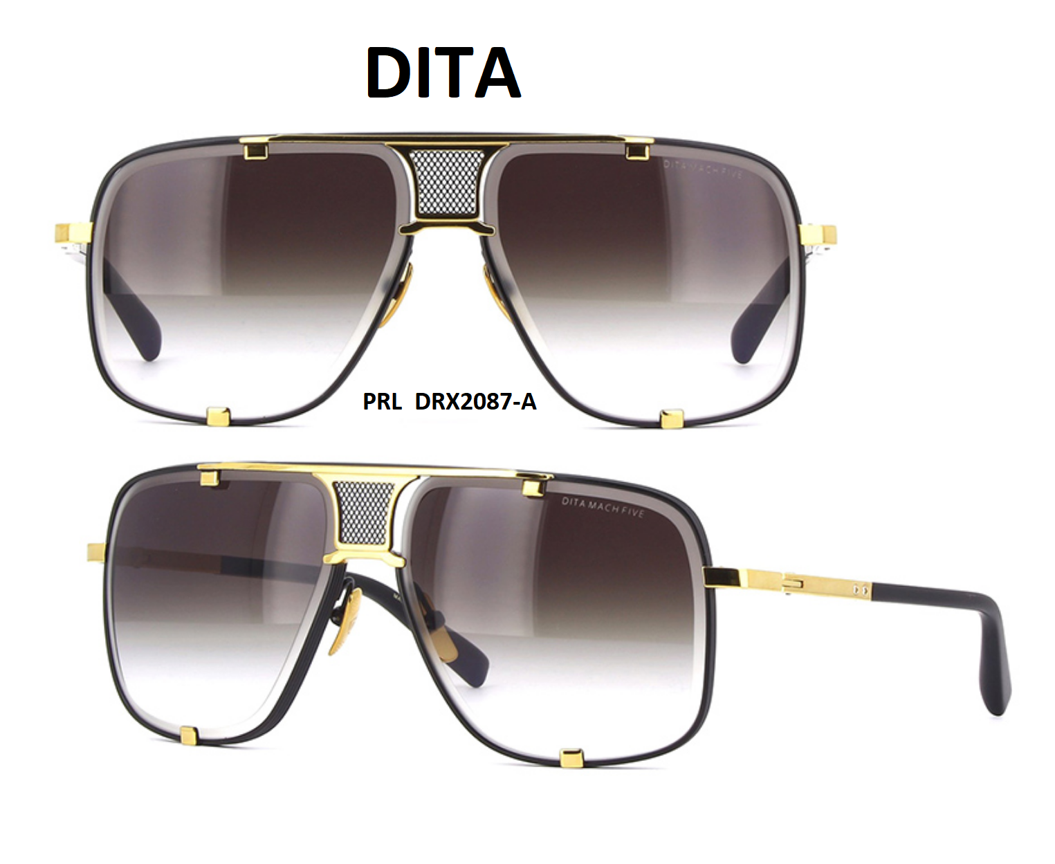 35c4b2b6d1 Dita Mach Five DRX 2087 A Sunglasses Matte Black-Yellow Gold Gray 100%  Authentic