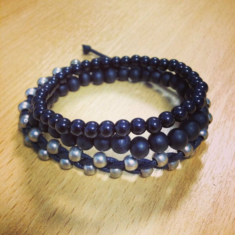 Cord Bead Triple Bracelet Stack Mens Jewellery mensfashion