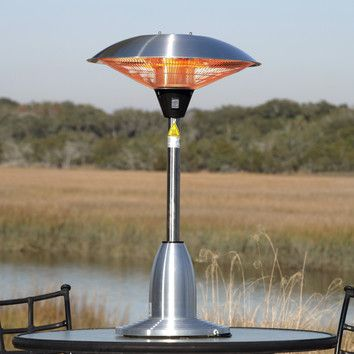 Fire Sense Stainless Steel Table Top Round Halogen Electric Patio Heater