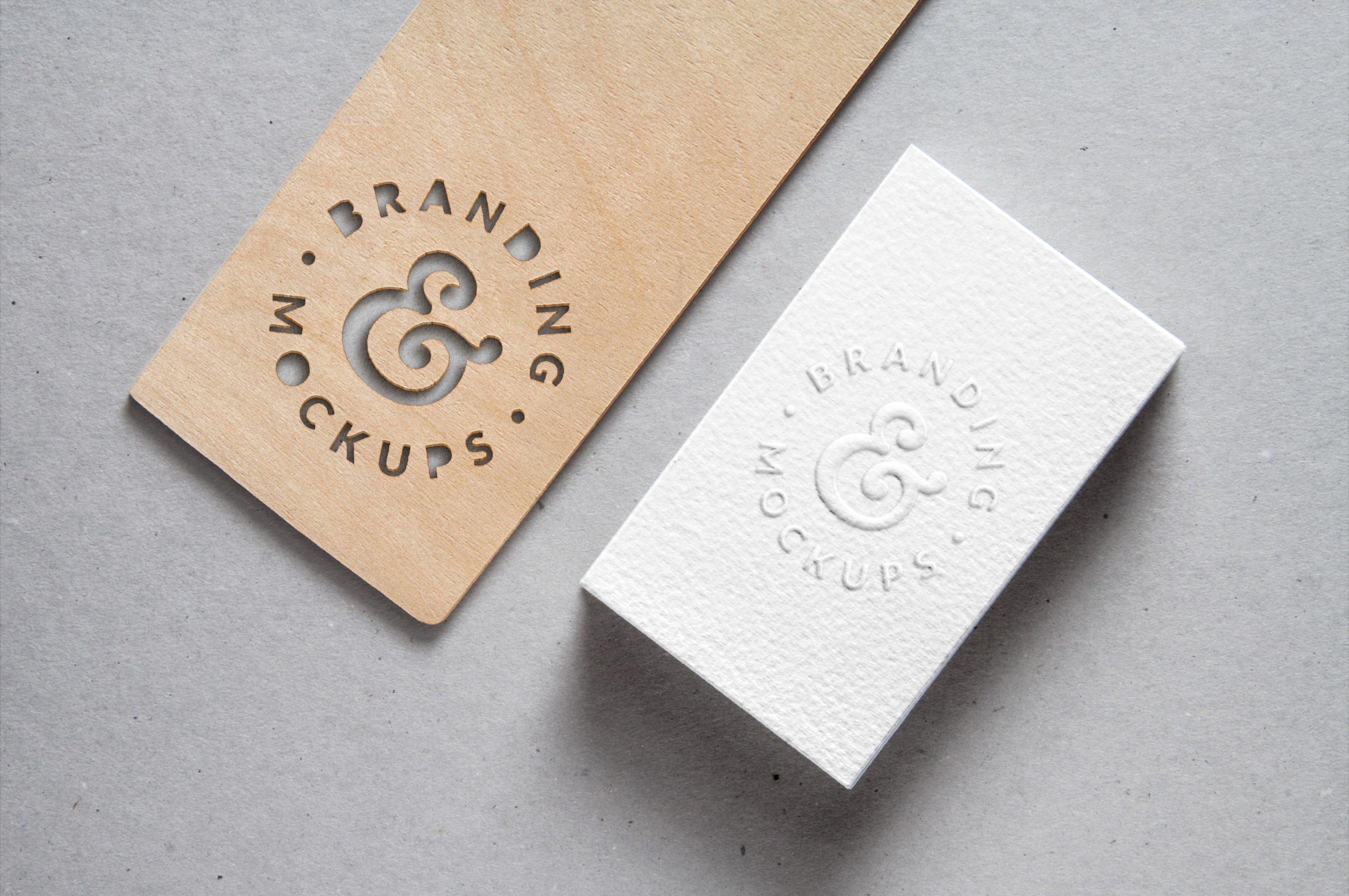 Cutout Wood Embossed B Card Mockup With Images Free Business