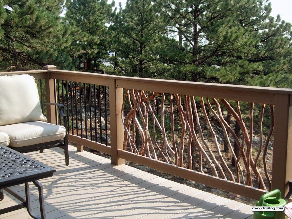 Composite deck railing with wood view rustic wood railing for Composite deck railing