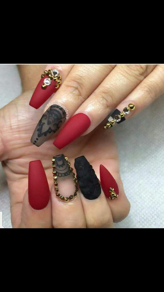 Red And Black Coffin Nails Designs Valoblogicom