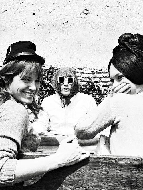 Nathalie Delon Alain Delon And Brigitte Bardot On The Set Of