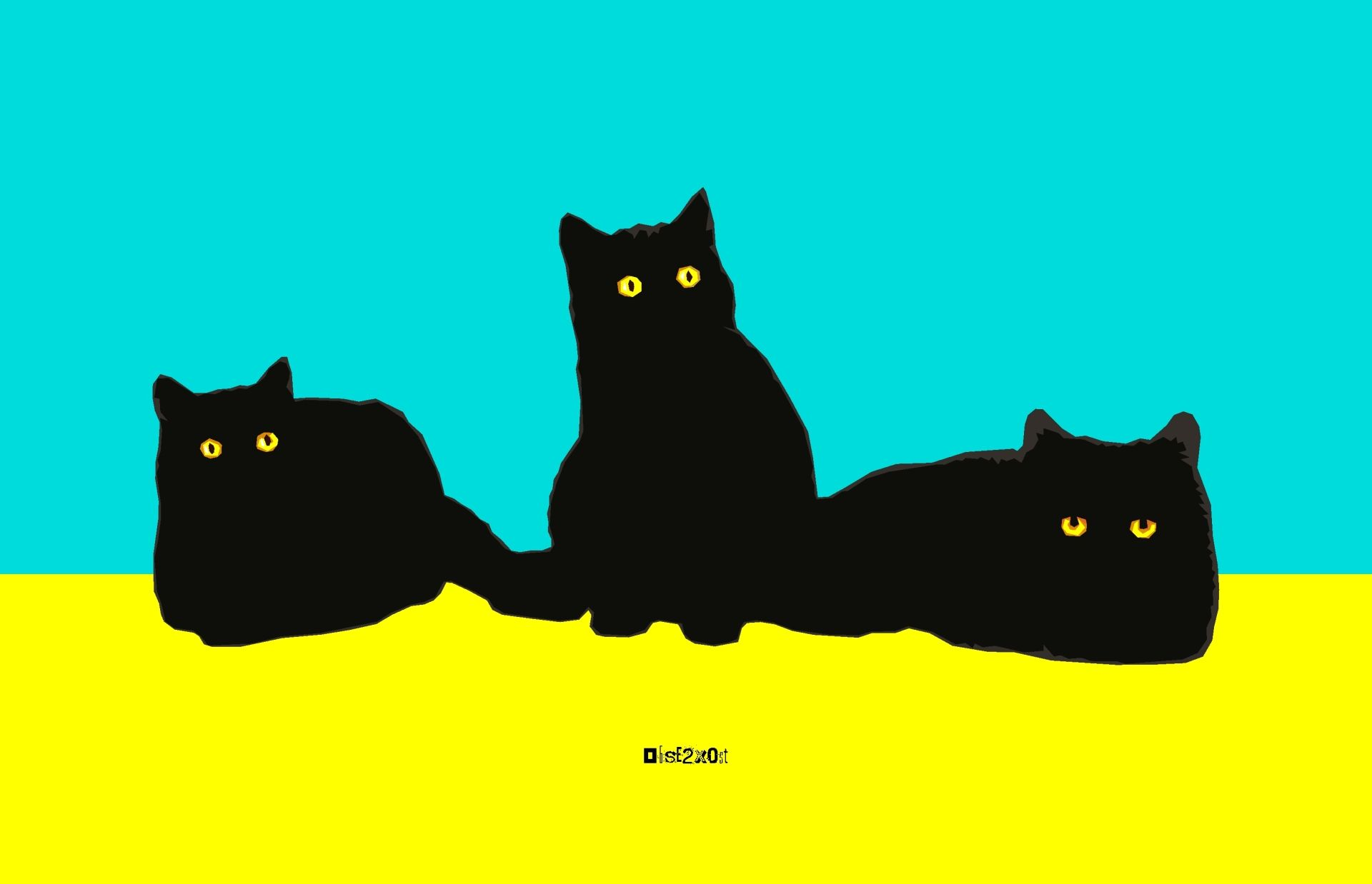 Computer Graphic Art Print Image File Of Three Black Cats In Minimal Geometric Style Black Cat Art Background Images Wallpapers Cat Art
