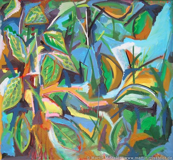 Moderne Maleri | Abstract Painting With Leaves - By Martin