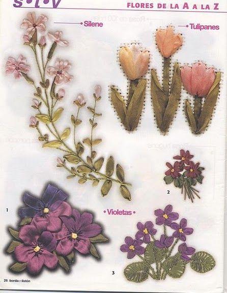 Pin By Glorielena Alvarado On Dibujos Para Bordados Y Varios Bordados Ribbon Embroidery Ribbon Flowers Embroidery