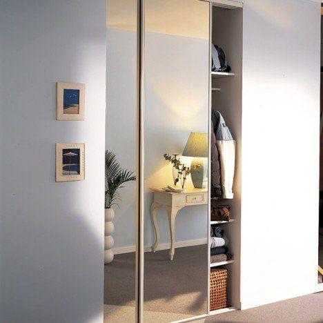 lot de 2 portes de placard coulissantes miroir argent