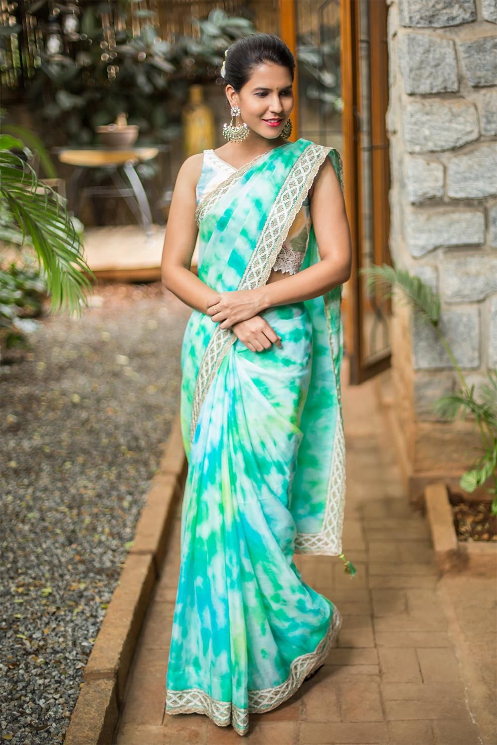 cba4ee4fbddeae Sea green shibori shaded pure chiffon saree with rich border  houseofblouse   saree  blouse  shibori